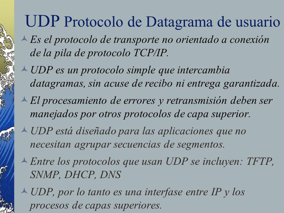UDP Protocolo de Datagrama de usuario Es el protocolo de transporte no orientado a conexión de la pila de protocolo TCP/IP. UDP es un protocolo simple