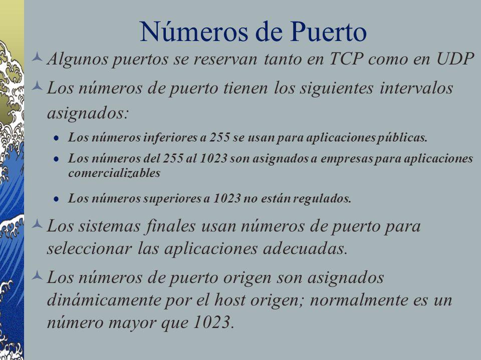 Números de Puerto Algunos puertos se reservan tanto en TCP como en UDP Los números de puerto tienen los siguientes intervalos asignados: Los números i