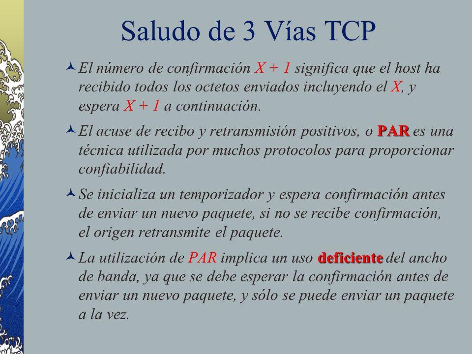 Saludo de 3 Vías TCP El número de confirmación X + 1 significa que el host ha recibido todos los octetos enviados incluyendo el X, y espera X + 1 a co