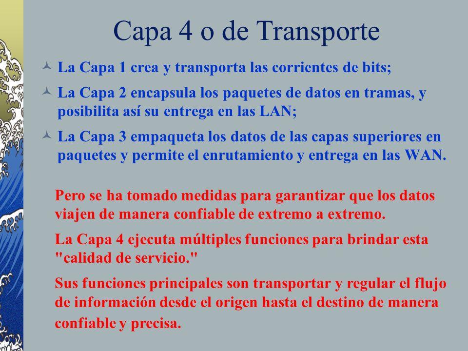 Capa 4 o de Transporte La Capa 1 crea y transporta las corrientes de bits; La Capa 2 encapsula los paquetes de datos en tramas, y posibilita así su en