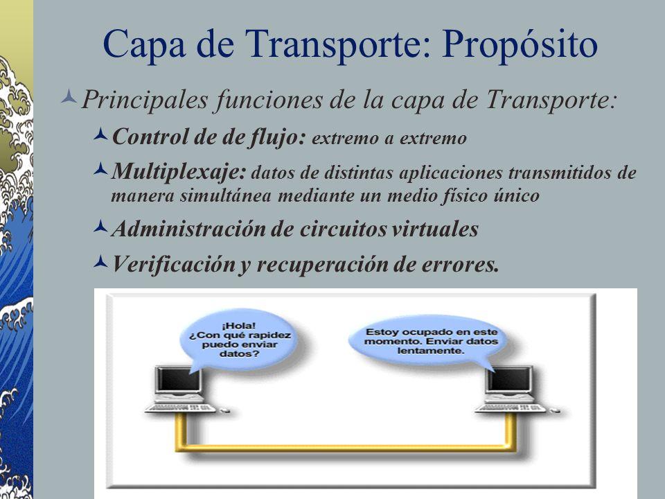 Capa de Transporte: Propósito Principales funciones de la capa de Transporte: Control de de flujo: extremo a extremo Multiplexaje: datos de distintas