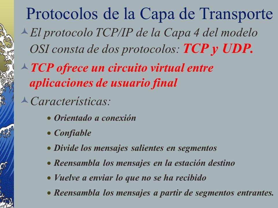 Protocolos de la Capa de Transporte El protocolo TCP/IP de la Capa 4 del modelo OSI consta de dos protocolos: TCP y UDP. TCP ofrece un circuito virtua