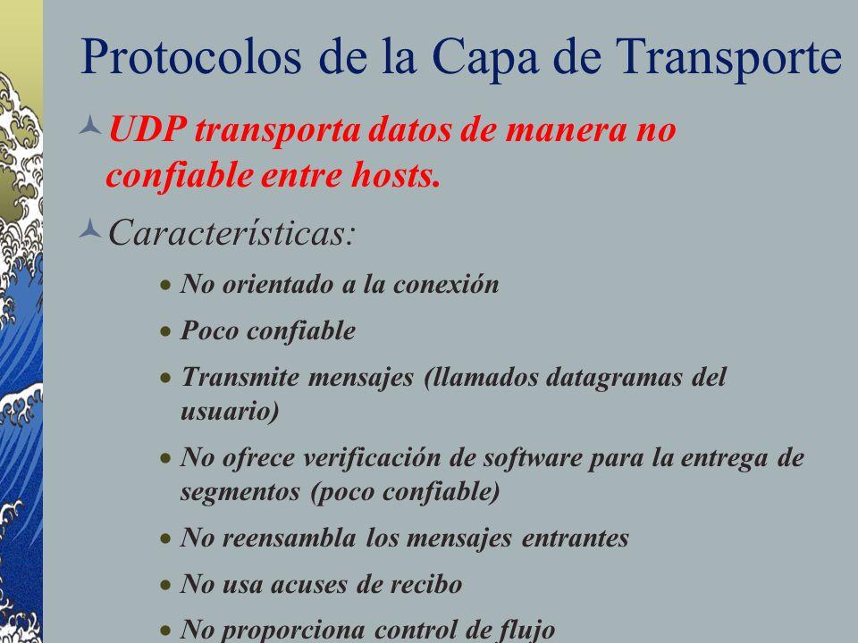 Protocolos de la Capa de Transporte UDP transporta datos de manera no confiable entre hosts. Características: No orientado a la conexión Poco confiabl