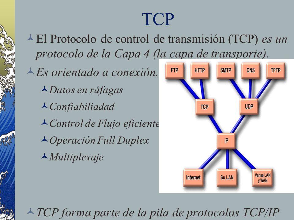 Segmento TCP Puerto origen Puerto origen: Número del puerto que realiza la llamada Puerto destino Puerto destino : Número del puerto que recibe la llamada Número de secuencia Número de secuencia: Número que se usa para garantizar el secuenciamiento correcto de los datos entrantes Número de acuse de recibo Número de acuse de recibo: Próximo octeto TCP esperado HLEN HLEN: Cantidad de palabras de 32 bits del encabezado Reservado Reservado: Se establece en cero Bits de código: Bits de código: Funciones de control (Ejemplo: configuración y terminación de una sesión)