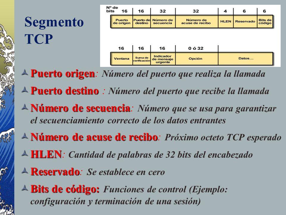 Segmento TCP Puerto origen Puerto origen: Número del puerto que realiza la llamada Puerto destino Puerto destino : Número del puerto que recibe la lla