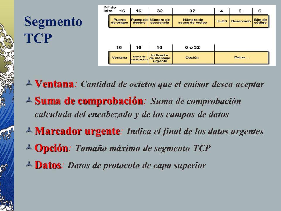 Segmento TCP Ventana Ventana: Cantidad de octetos que el emisor desea aceptar Suma de comprobación Suma de comprobación: Suma de comprobación calculad
