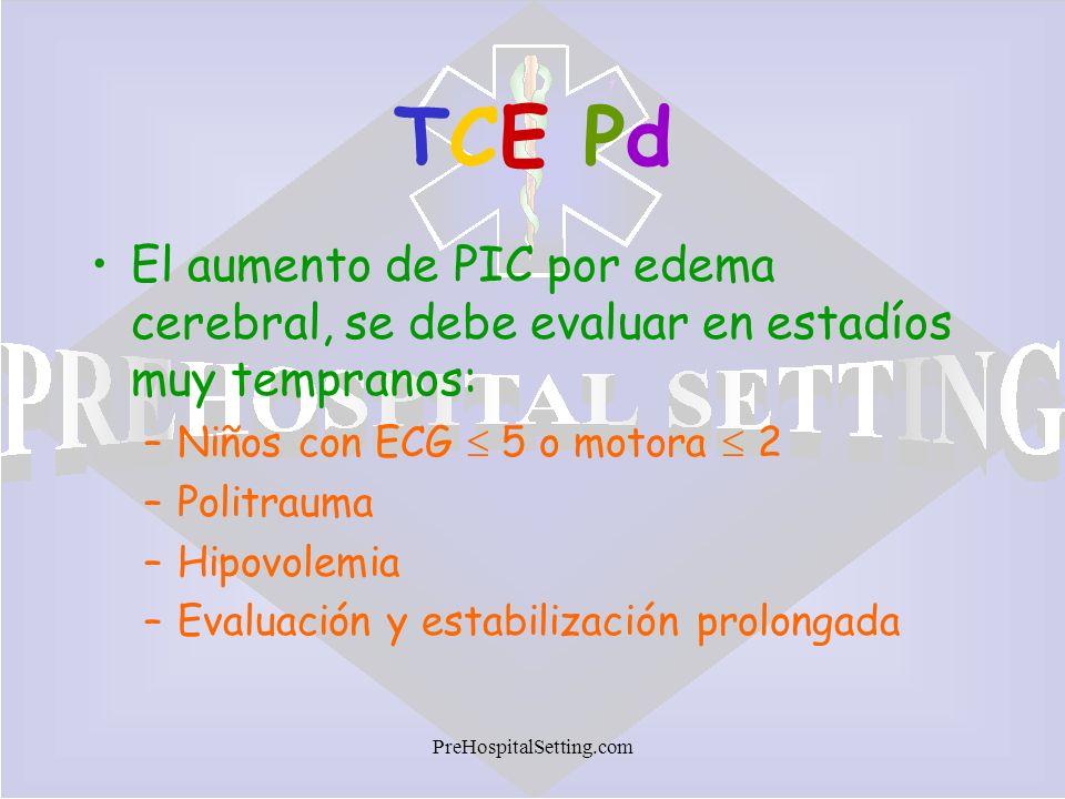 PreHospitalSetting.com TCE PdTCE Pd El aumento de PIC por edema cerebral, se debe evaluar en estadíos muy tempranos: –Niños con ECG 5 o motora 2 –Poli