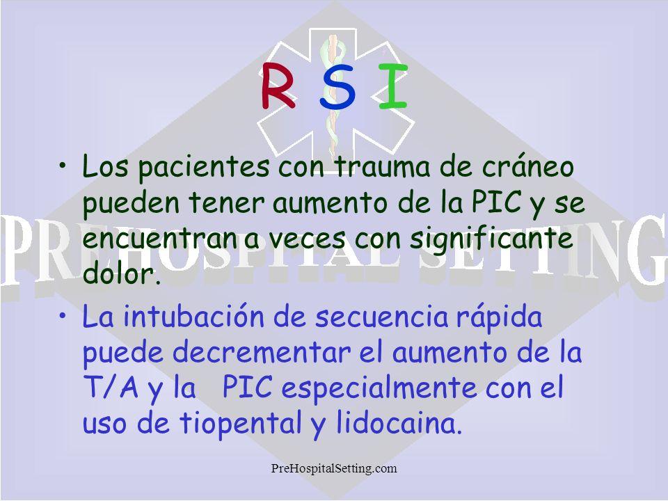 PreHospitalSetting.com R S IR S I Los pacientes con trauma de cráneo pueden tener aumento de la PIC y se encuentran a veces con significante dolor. La