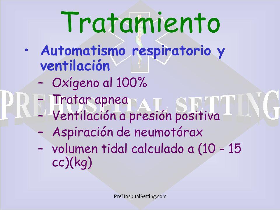 PreHospitalSetting.com Tratamiento Automatismo respiratorio y ventilación –Oxígeno al 100% –Tratar apnea –Ventilación a presión positiva –Aspiración d