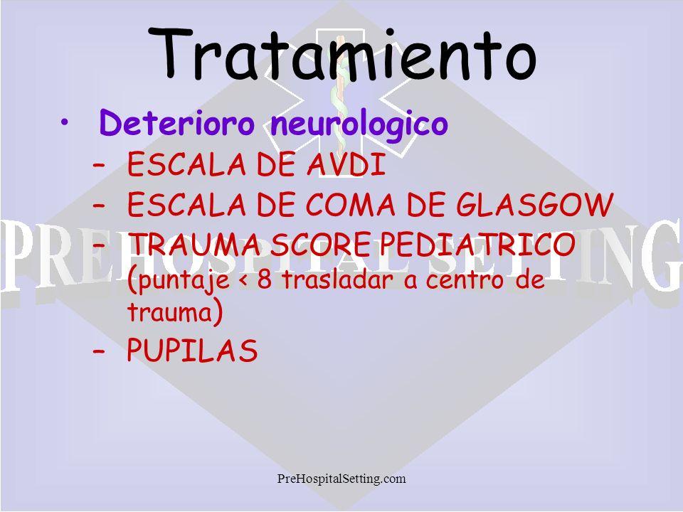 PreHospitalSetting.com Tratamiento Deterioro neurologico –ESCALA DE AVDI –ESCALA DE COMA DE GLASGOW –TRAUMA SCORE PEDIATRICO ( puntaje < 8 trasladar a