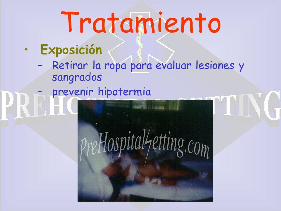 PreHospitalSetting.com Tratamiento Exposición –Retirar la ropa para evaluar lesiones y sangrados –prevenir hipotermia