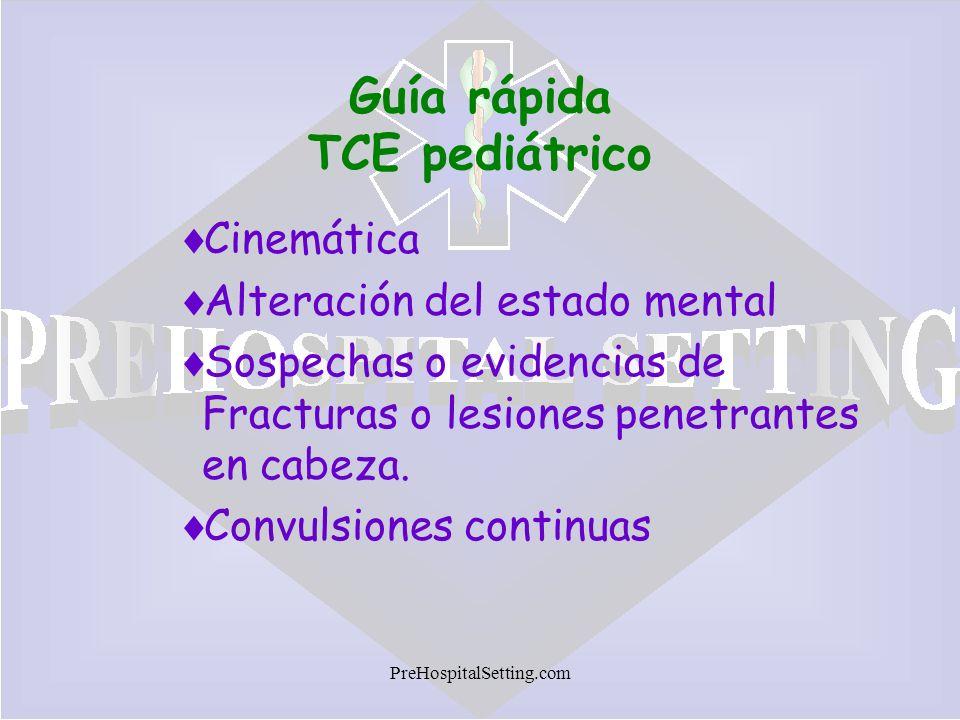 PreHospitalSetting.com Guía rápida TCE pediátrico Cinemática Alteración del estado mental Sospechas o evidencias de Fracturas o lesiones penetrantes e