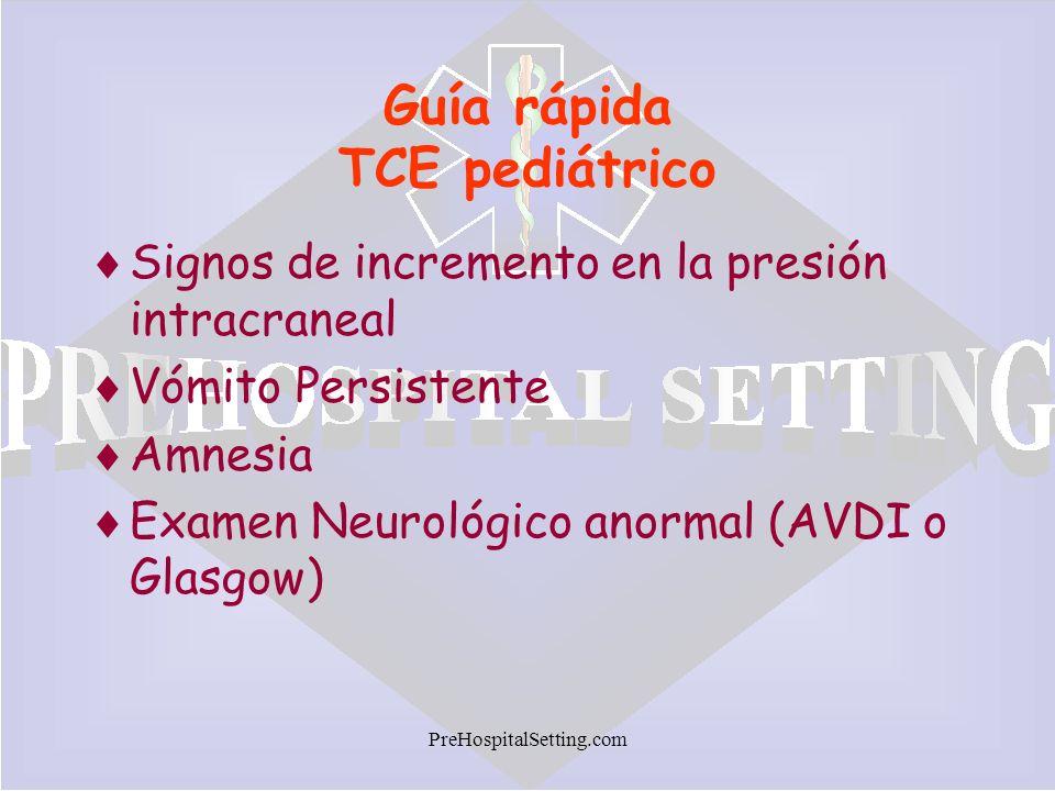 PreHospitalSetting.com Guía rápida TCE pediátrico Signos de incremento en la presión intracraneal Vómito Persistente Amnesia Examen Neurológico anorma
