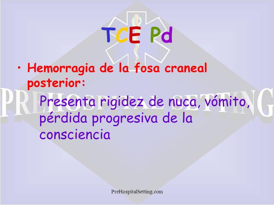 PreHospitalSetting.com TCE PdTCE Pd Hemorragia de la fosa craneal posterior: Presenta rigidez de nuca, vómito, pérdida progresiva de la consciencia