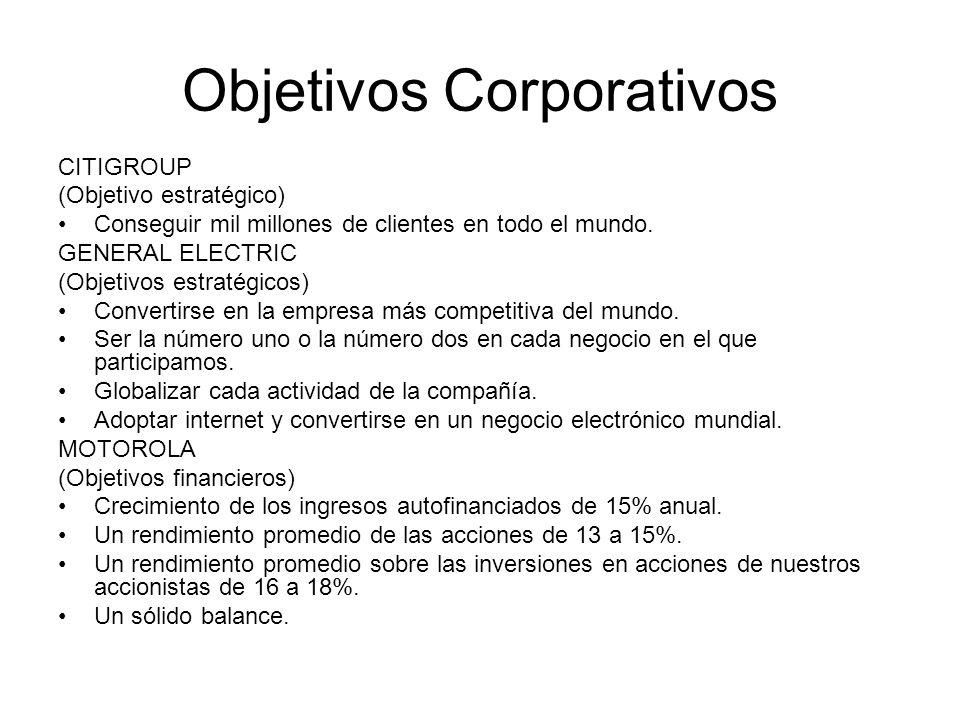 Objetivos Corporativos CITIGROUP (Objetivo estratégico) Conseguir mil millones de clientes en todo el mundo. GENERAL ELECTRIC (Objetivos estratégicos)