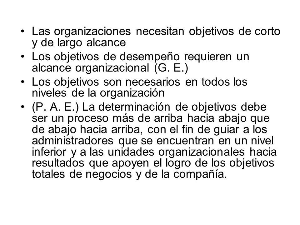 Las organizaciones necesitan objetivos de corto y de largo alcance Los objetivos de desempeño requieren un alcance organizacional (G. E.) Los objetivo