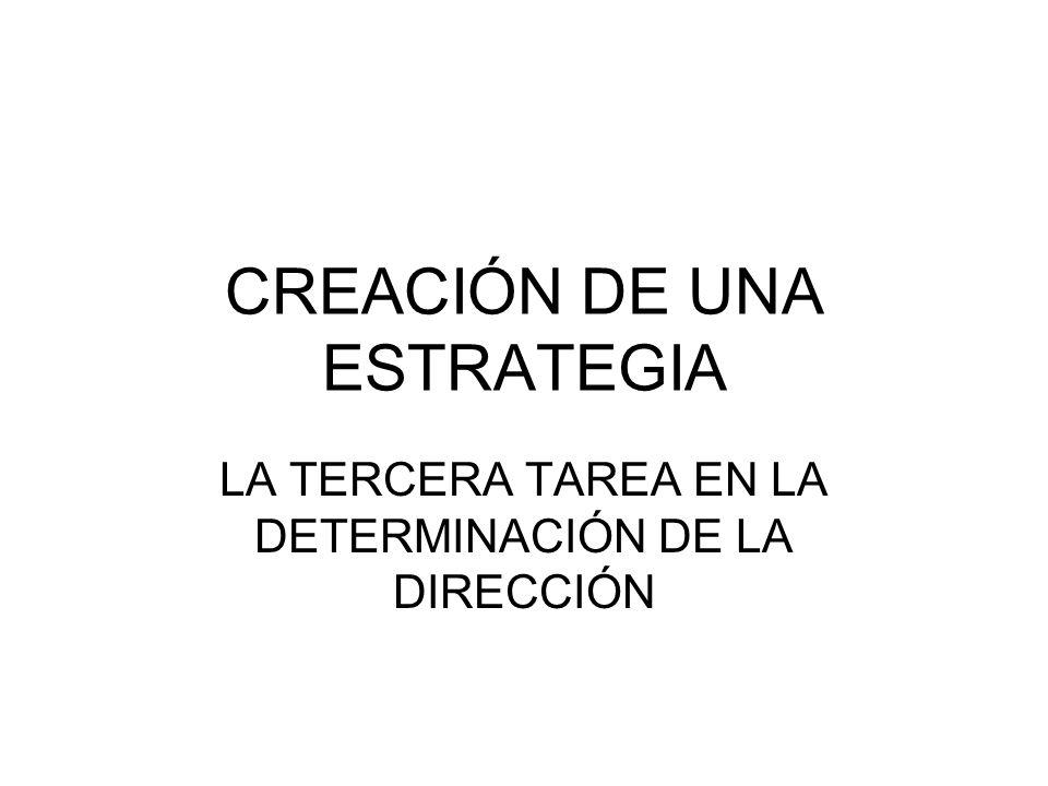 CREACIÓN DE UNA ESTRATEGIA LA TERCERA TAREA EN LA DETERMINACIÓN DE LA DIRECCIÓN