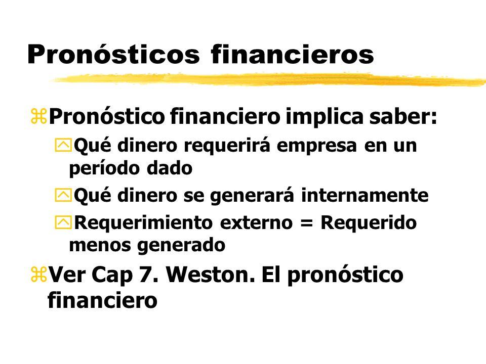 Pronósticos financieros zPronóstico financiero implica saber: yQué dinero requerirá empresa en un período dado yQué dinero se generará internamente yR