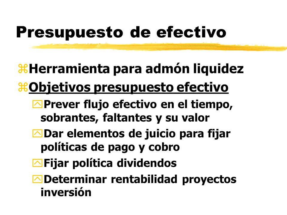 Presupuesto de efectivo zHerramienta para admón liquidez zObjetivos presupuesto efectivo yPrever flujo efectivo en el tiempo, sobrantes, faltantes y s