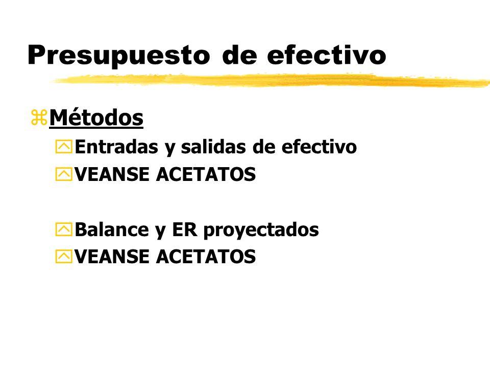 Presupuesto de efectivo zMétodos yEntradas y salidas de efectivo yVEANSE ACETATOS yBalance y ER proyectados yVEANSE ACETATOS
