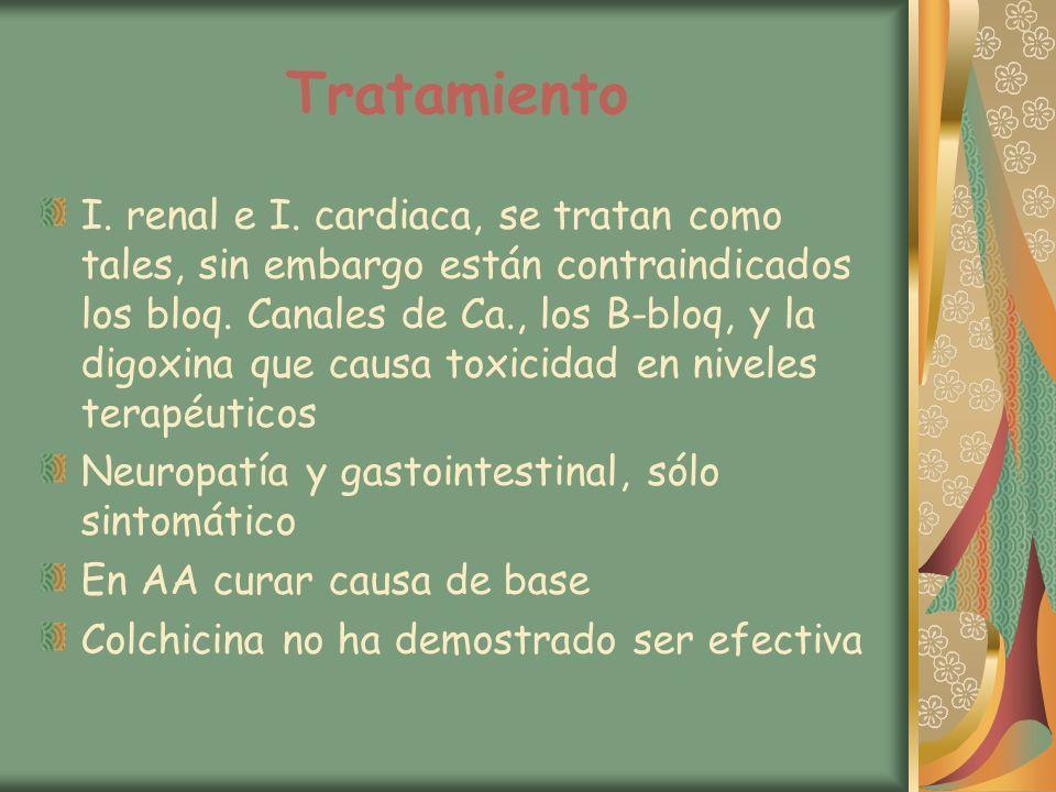 Tratamiento I. renal e I. cardiaca, se tratan como tales, sin embargo están contraindicados los bloq. Canales de Ca., los B-bloq, y la digoxina que ca