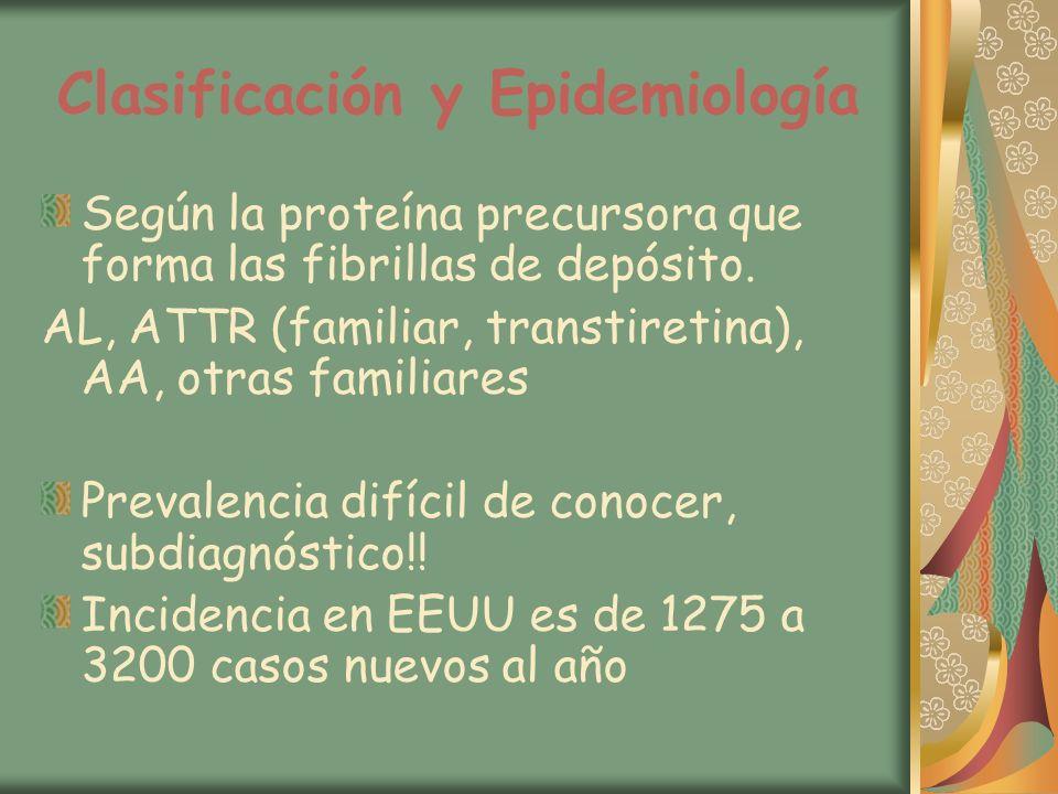 Clasificación y Epidemiología Según la proteína precursora que forma las fibrillas de depósito. AL, ATTR (familiar, transtiretina), AA, otras familiar