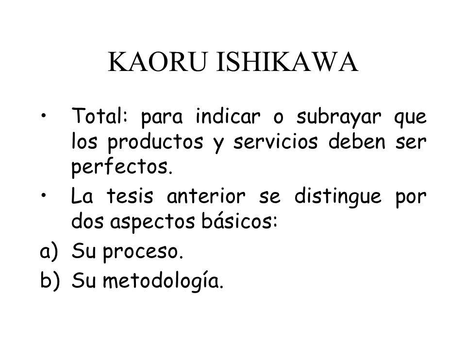 KAORU ISHIKAWA Ing. Japonés y discipulo de Deming y Juran, es el creador del concepto de Calidad Total. Él consideró que el término control, tratandos
