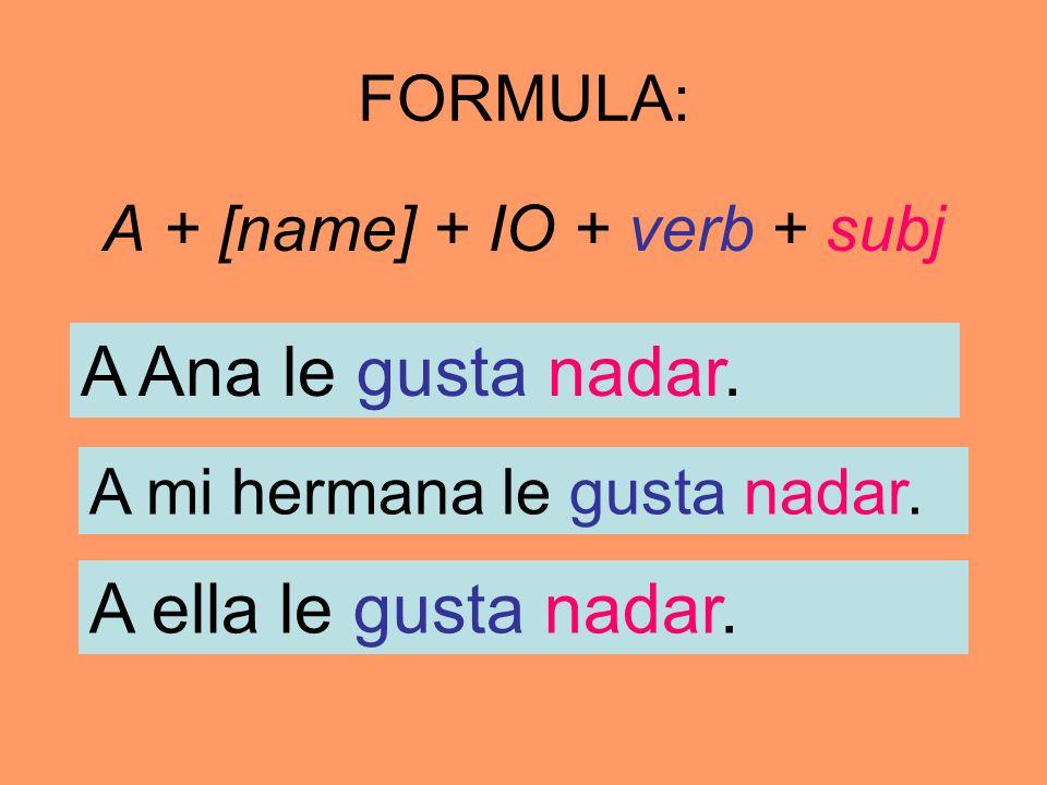 FORMULA: A + [name] + IO + verb + subj A Ana le gusta nadar. A mi hermana le gusta nadar. A ella le gusta nadar.