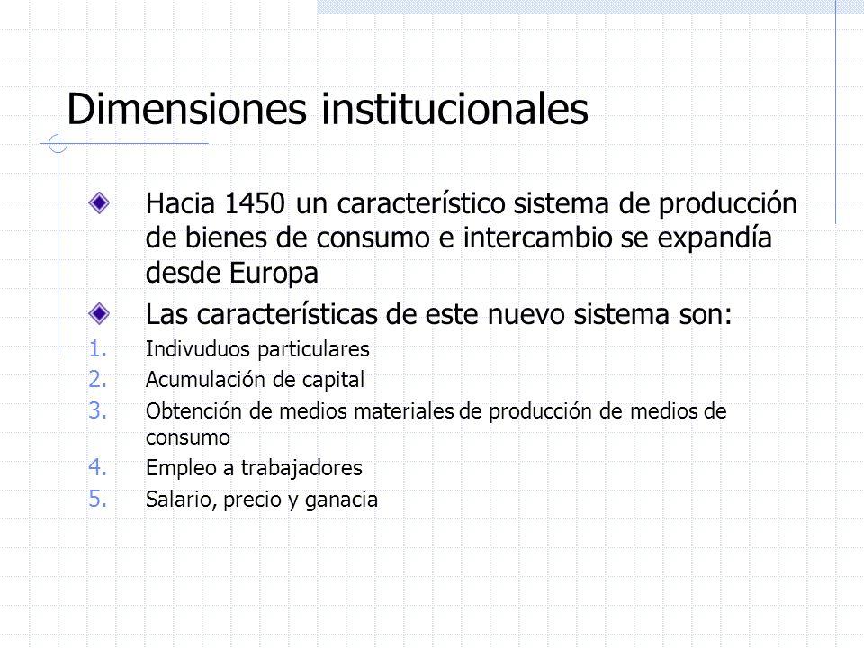 Dimensiones institucionales Hacia 1450 un característico sistema de producción de bienes de consumo e intercambio se expandía desde Europa Las caracte