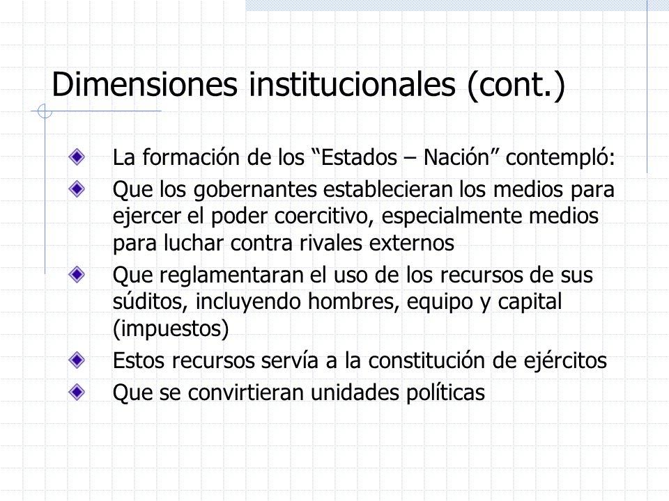 Dimensiones institucionales (cont.) La formación de los Estados – Nación contempló: Que los gobernantes establecieran los medios para ejercer el poder