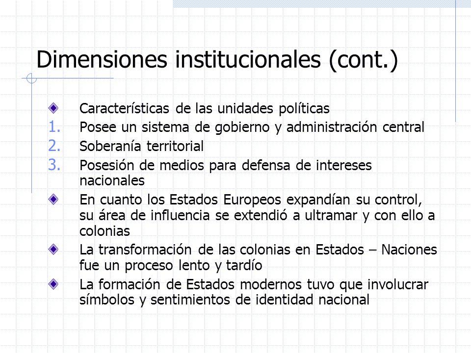 Dimensiones institucionales (cont.) Características de las unidades políticas 1. Posee un sistema de gobierno y administración central 2. Soberanía te
