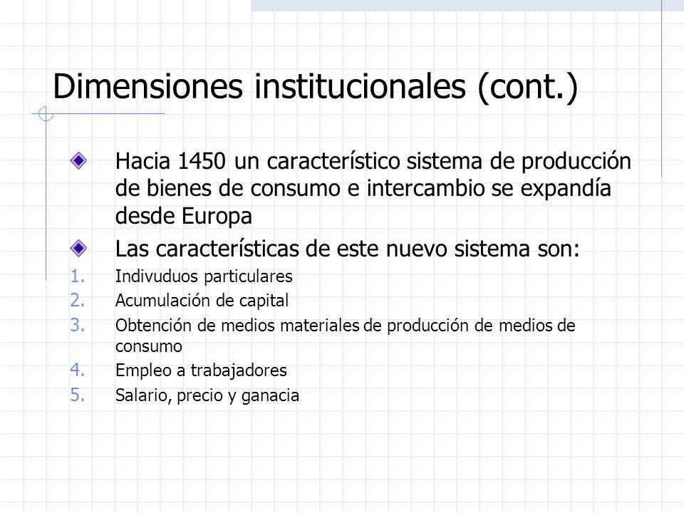 Dimensiones institucionales (cont.) Hacia 1450 un característico sistema de producción de bienes de consumo e intercambio se expandía desde Europa Las características de este nuevo sistema son: 1.