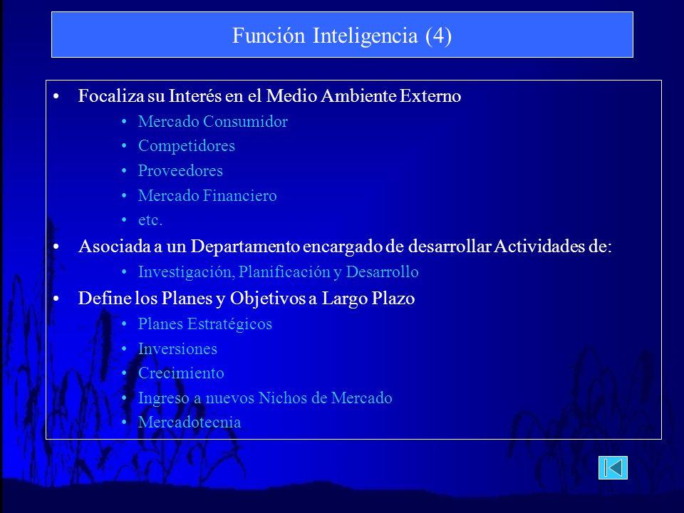 Función Inteligencia (4) Focaliza su Interés en el Medio Ambiente Externo Mercado Consumidor Competidores Proveedores Mercado Financiero etc.