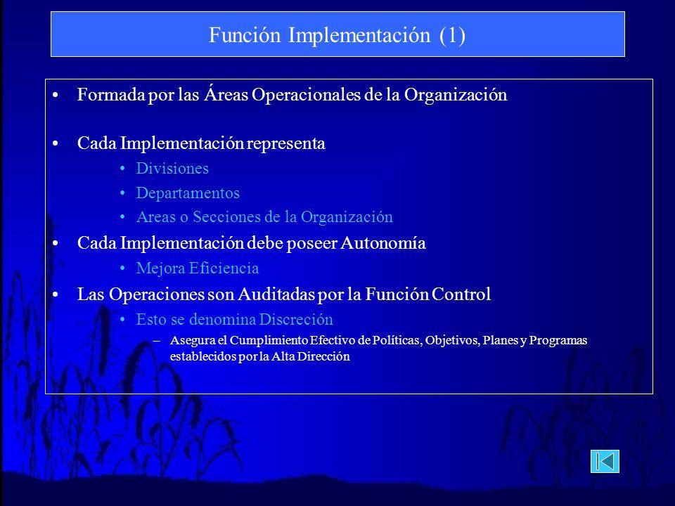 Función Implementación (1) Formada por las Áreas Operacionales de la Organización Cada Implementación representa Divisiones Departamentos Areas o Secciones de la Organización Cada Implementación debe poseer Autonomía Mejora Eficiencia Las Operaciones son Auditadas por la Función Control Esto se denomina Discreción –Asegura el Cumplimiento Efectivo de Políticas, Objetivos, Planes y Programas establecidos por la Alta Dirección