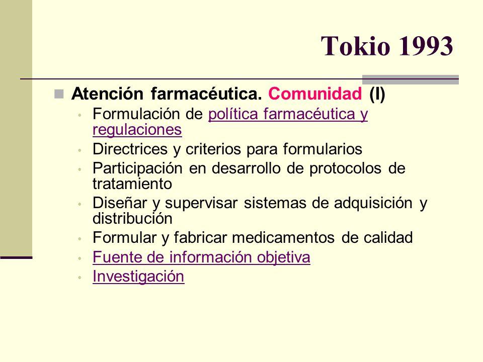 Tokio 1993 Atención farmacéutica. Comunidad (I) Formulación de política farmacéutica y regulaciones Directrices y criterios para formularios Participa