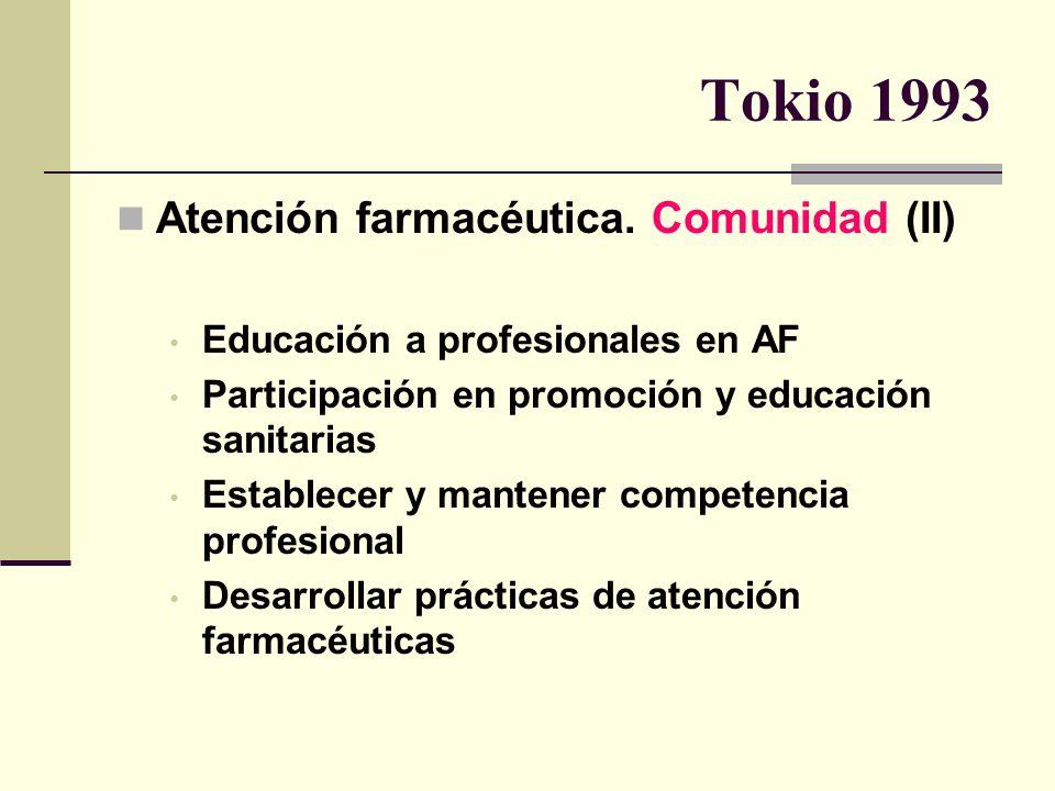 Tokio 1993 Atención farmacéutica. Comunidad (II) Educación a profesionales en AF Participación en promoción y educación sanitarias Establecer y manten