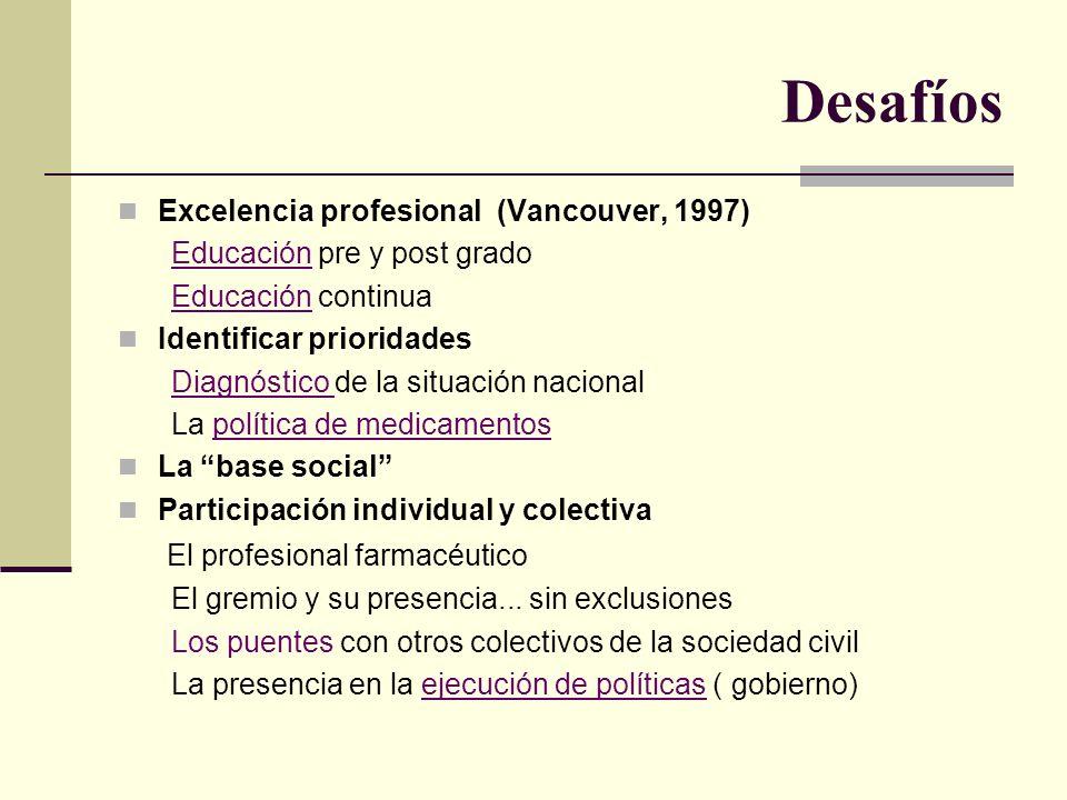 Desafíos Excelencia profesional (Vancouver, 1997) Educación pre y post grado Educación continua Identificar prioridades Diagnóstico de la situación na