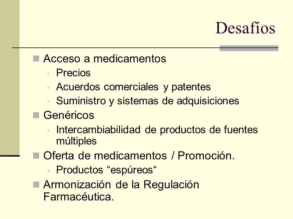 Desafíos Acceso a medicamentos Precios Acuerdos comerciales y patentes Suministro y sistemas de adquisiciones Genéricos Intercambiabilidad de producto