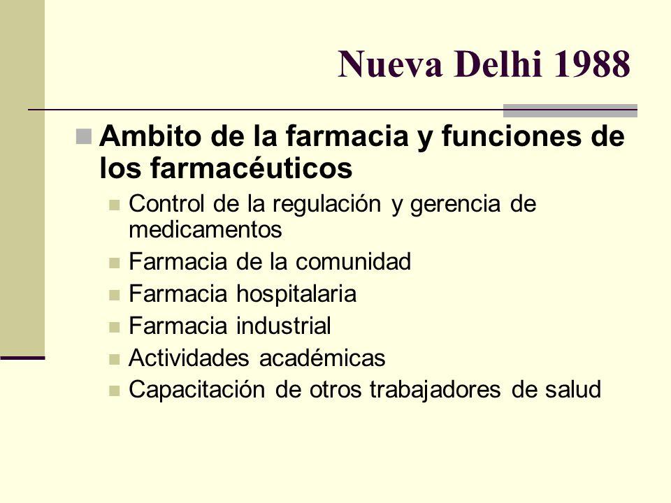 Nueva Delhi 1988 Ambito de la farmacia y funciones de los farmacéuticos Control de la regulación y gerencia de medicamentos Farmacia de la comunidad F