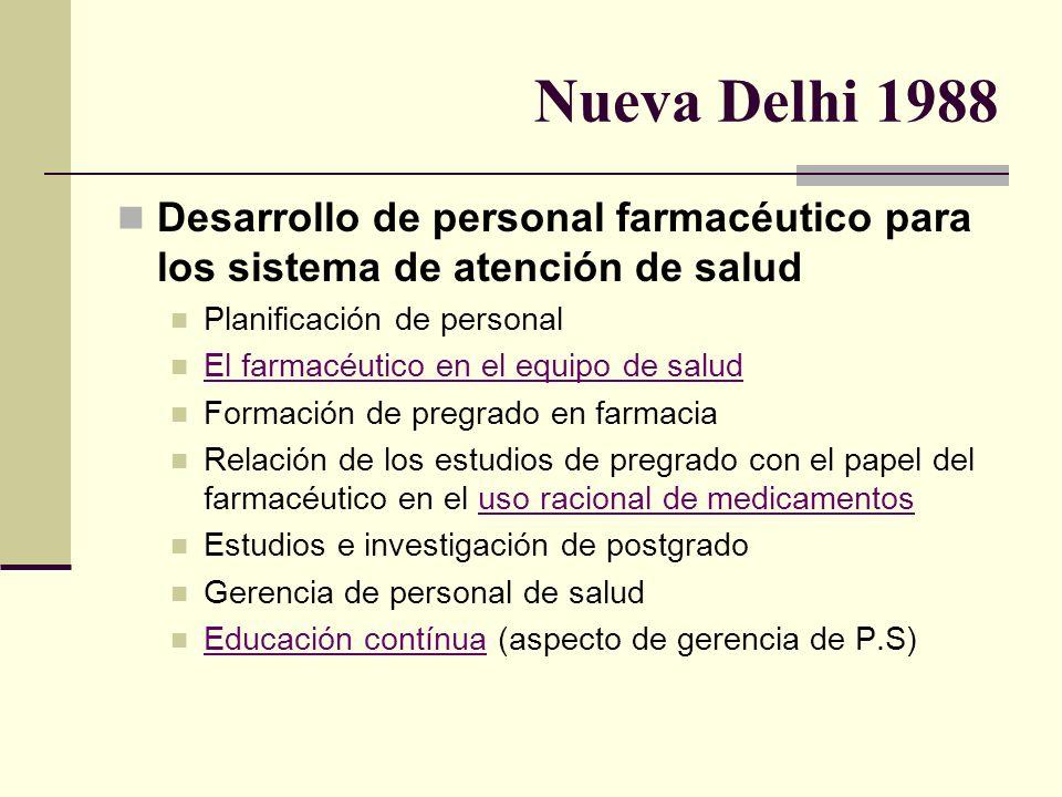 Nueva Delhi 1988 Desarrollo de personal farmacéutico para los sistema de atención de salud Planificación de personal El farmacéutico en el equipo de s