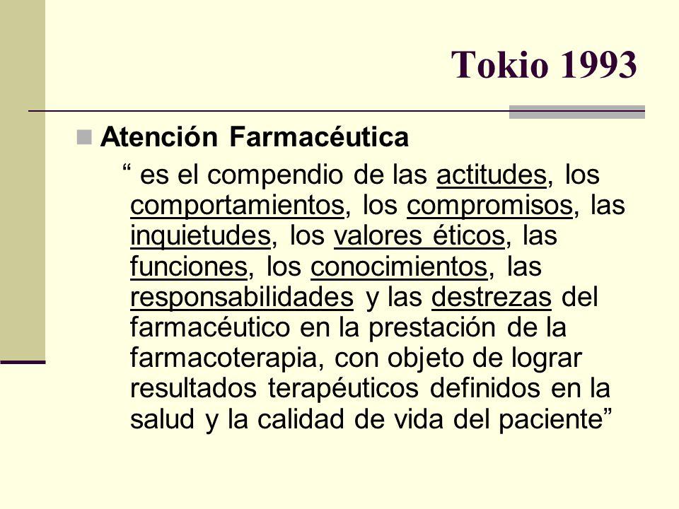 Tokio 1993 Atención Farmacéutica es el compendio de las actitudes, los comportamientos, los compromisos, las inquietudes, los valores éticos, las func