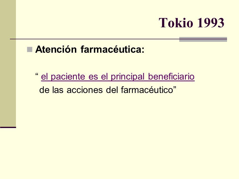 Tokio 1993 Atención farmacéutica: el paciente es el principal beneficiario de las acciones del farmacéutico