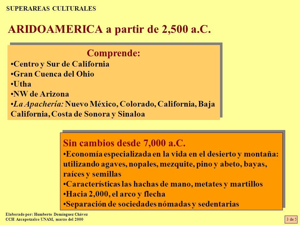 ARIDOAMERICA a partir de 2,500 a.C. Comprende: Centro y Sur de California Gran Cuenca del Ohio Utha NW de Arizona La Apachería: Nuevo México, Colorado