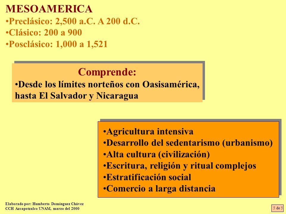 MESOAMERICA Preclásico: 2,500 a.C. A 200 d.C. Clásico: 200 a 900 Posclásico: 1,000 a 1,521 Comprende: Desde los límites norteños con Oasisamérica, has