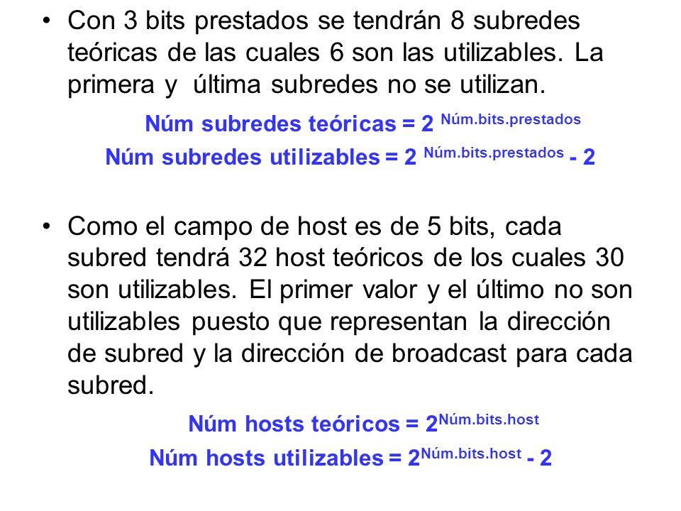 Con 3 bits prestados se tendrán 8 subredes teóricas de las cuales 6 son las utilizables. La primera y última subredes no se utilizan. Núm subredes teó