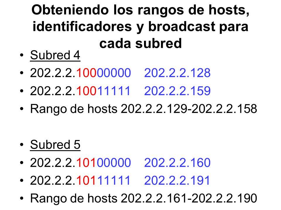 Obteniendo los rangos de hosts, identificadores y broadcast para cada subred Subred 4 202.2.2.10000000 202.2.2.128 202.2.2.10011111 202.2.2.159 Rango