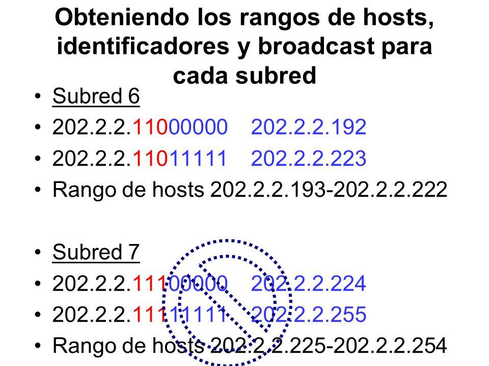 Obteniendo los rangos de hosts, identificadores y broadcast para cada subred Subred 6 202.2.2.11000000 202.2.2.192 202.2.2.11011111 202.2.2.223 Rango