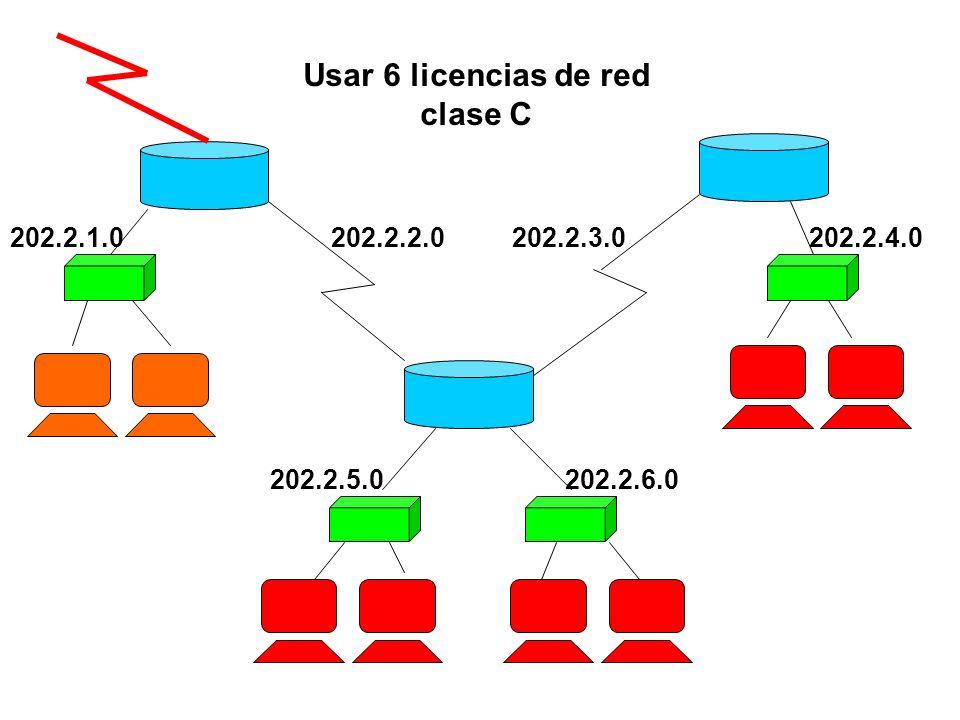 202.2.2.0202.2.1.0202.2.4.0 202.2.5.0202.2.6.0 202.2.3.0 Usar 6 licencias de red clase C