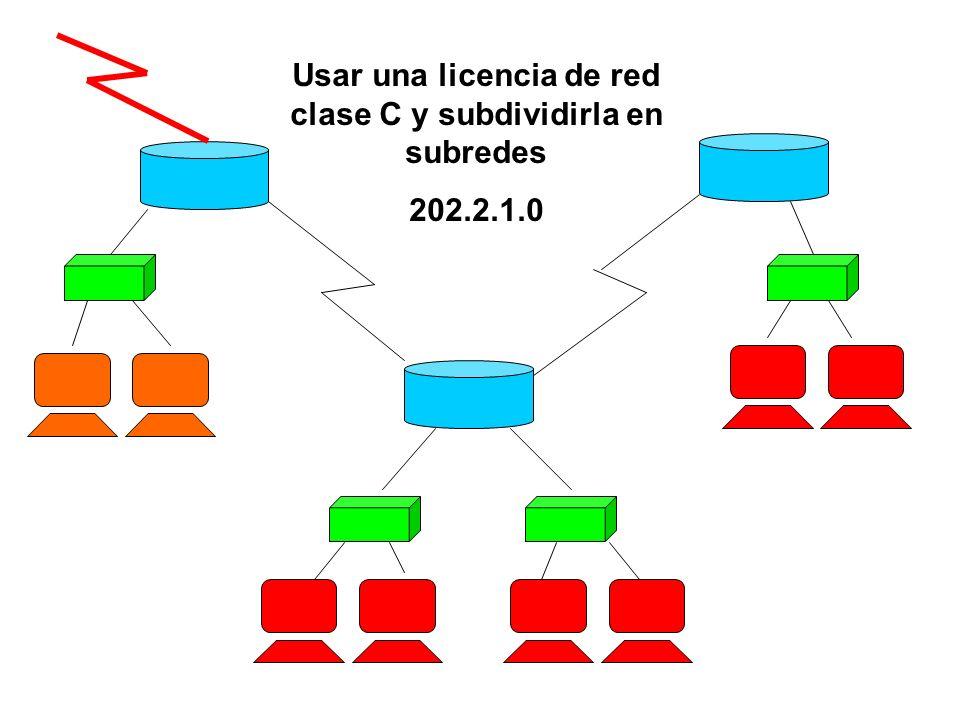Usar una licencia de red clase C y subdividirla en subredes 202.2.1.0