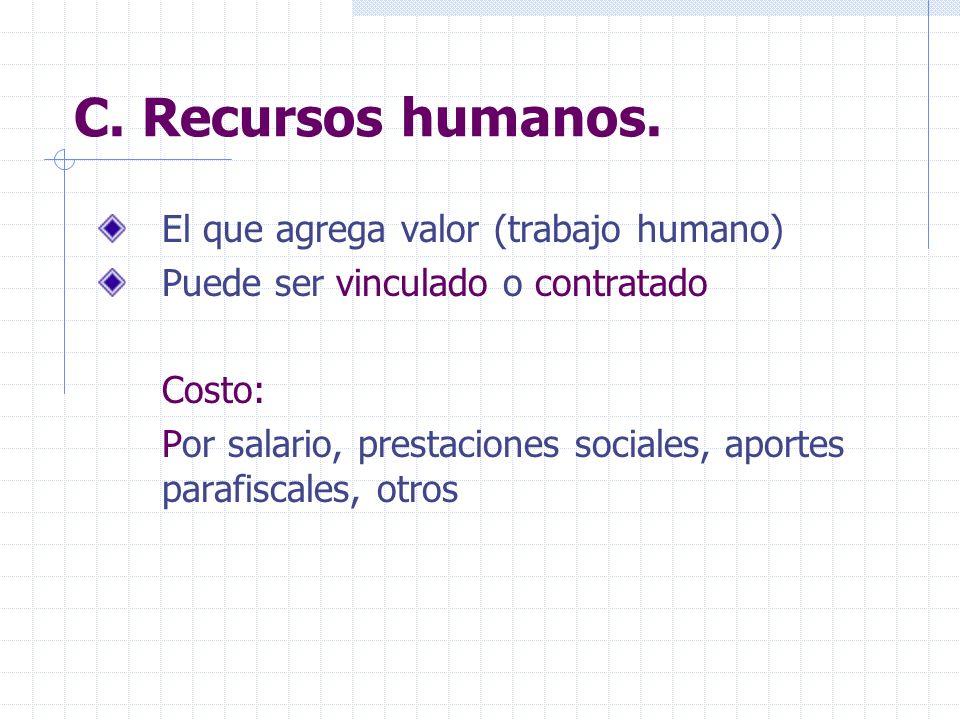 C. Recursos humanos. El que agrega valor (trabajo humano) Puede ser vinculado o contratado Costo: Por salario, prestaciones sociales, aportes parafisc